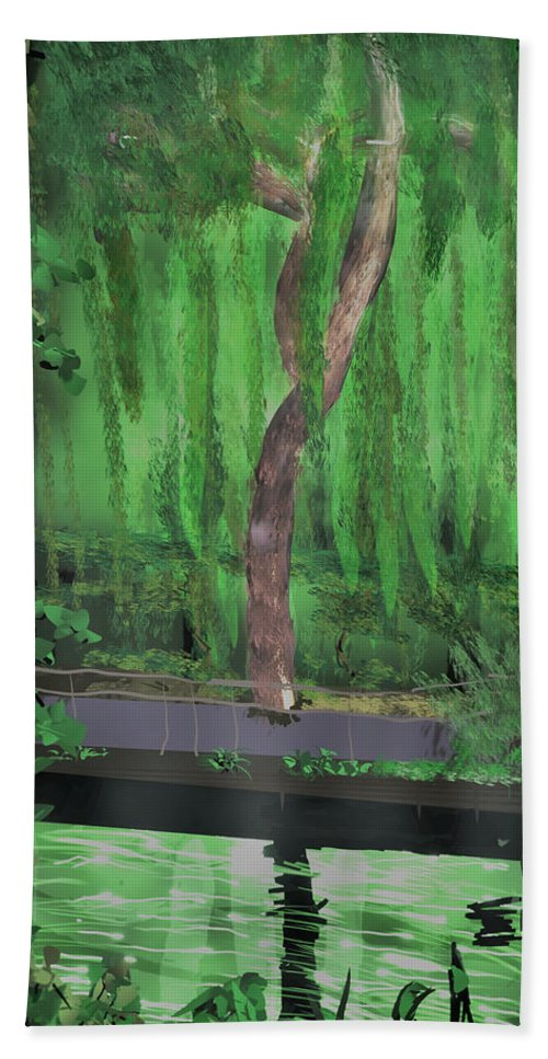 Tiltbrush Beach Towel featuring the digital art Weeping Willow by Kab