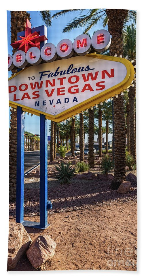 Welcome To Downtown Las Vegas Sign Beach Towel featuring the photograph R.i.p. Welcome To Downtown Las Vegas Sign Day by Aloha Art