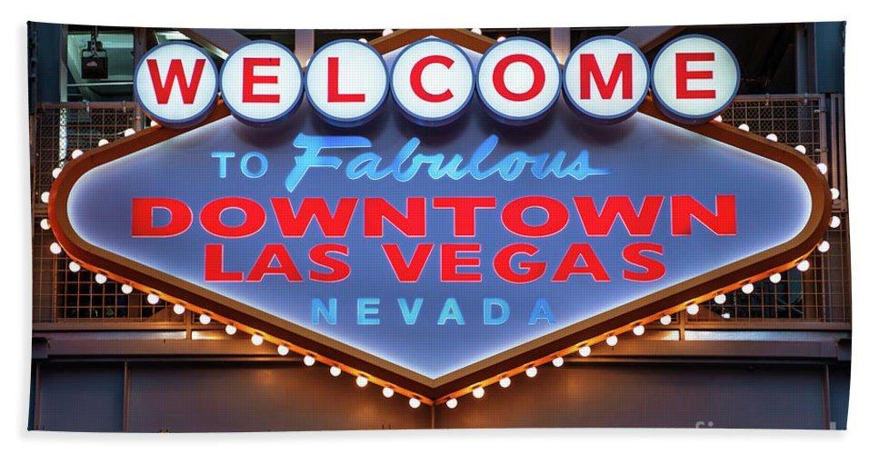Welcome To Downtown Las Vegas Beach Towel featuring the photograph Welcome To Downtown Las Vegas Sign Slotzilla by Aloha Art