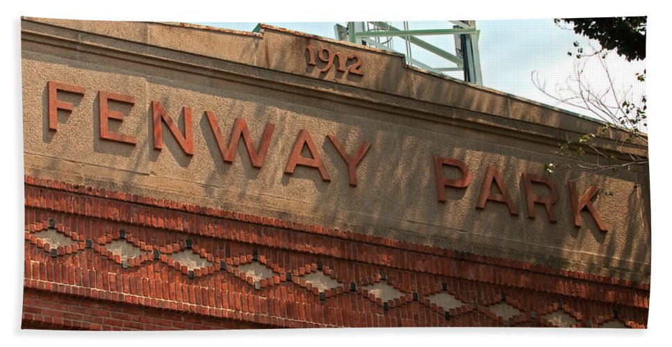 fenway Park Beach Towel featuring the Welcome To Fenway Park by Paul Mangold