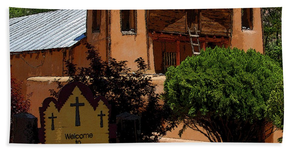 Art Beach Towel featuring the painting Welcome To Santuario De Chimayo by David Lee Thompson