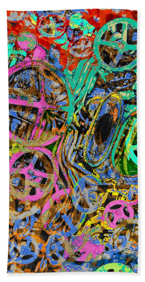 Machine Beach Towel featuring the painting Welcome To The Machine Green by Tony Rubino