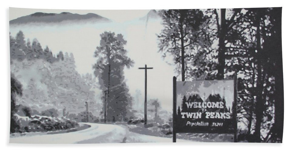 Laura Palmer Beach Towel featuring the painting Welcome To Twin Peaks by Ludzska