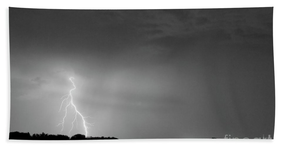 Black Beach Towel featuring the photograph Weld County Looking East From County Line Co Bw by James BO Insogna
