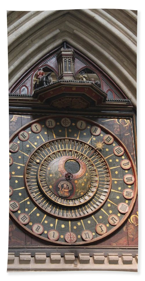 Wells Beach Towel featuring the photograph Wells Cathedral Astronomical Clock by Lauri Novak