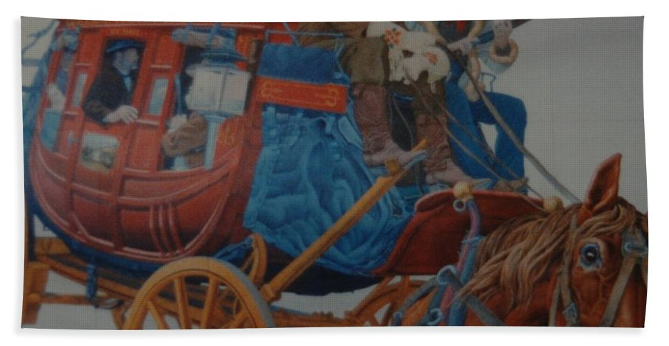 Mural Beach Towel featuring the photograph Wells Fargo Stagecoach by Rob Hans