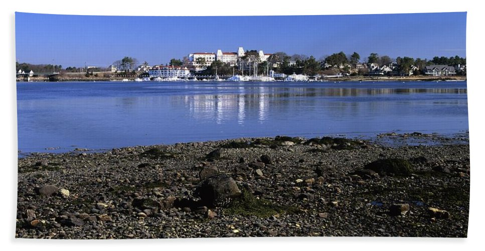 New Castle Beach Towel featuring the photograph Wentworth By The Sea Hotel - New Castle New Hampshire Usa by Erin Paul Donovan