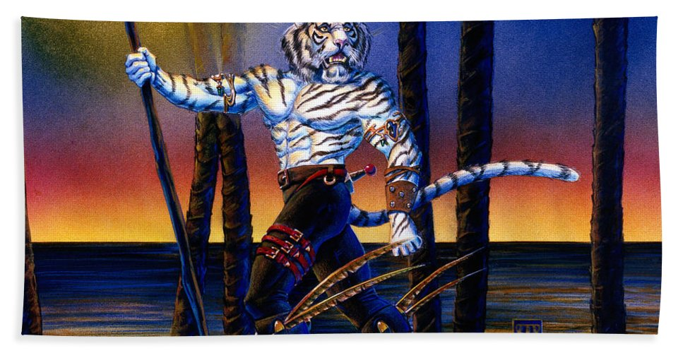 Were Cat Beach Towel featuring the painting Werecat With Torch by Melissa A Benson