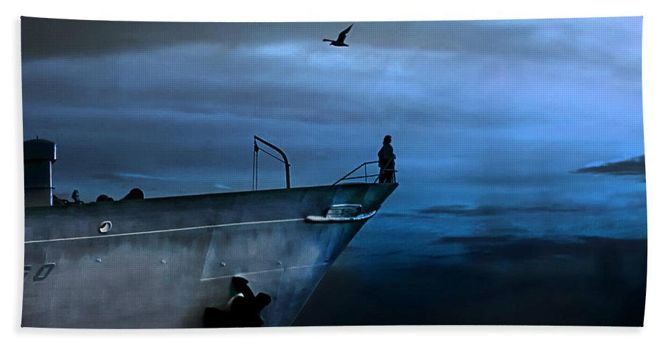Ship Beach Towel featuring the photograph West Across The Ocean by Joachim G Pinkawa