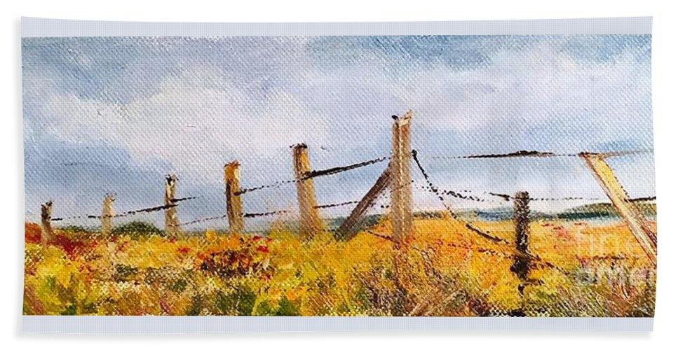 Fence Pasture Landscape Field Barbed Wire Red Flowers Range Sky Cloud Blue Yellow Grass Green Bob Wire Bobbed Wire Grazing Farmland Grasses Meadow Hay Range Land  Beach Towel featuring the painting West Forty by Patricia Caldwell