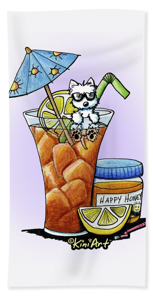 Beverage Beach Towel featuring the drawing West Highland Iced Tea by Kim Niles