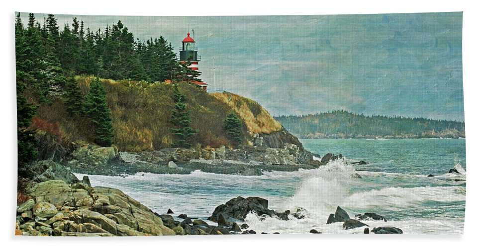 Cindi Ressler Beach Towel featuring the photograph West Quoddy Head Lighthouse by Cindi Ressler