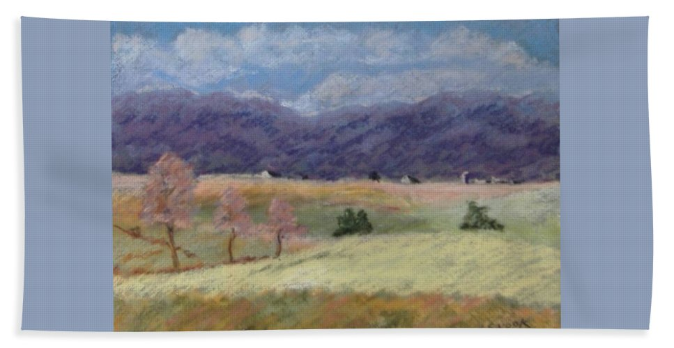 Landscape Beach Towel featuring the pastel West Virginia Landscape       by Pat Snook