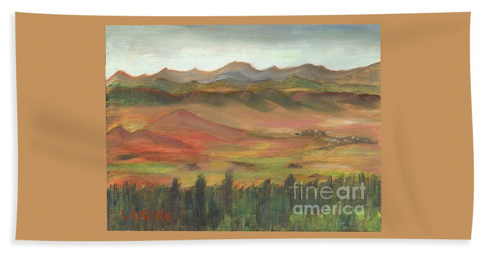 Colorado Beach Towel featuring the painting Westcliffe Valley I by Lilibeth Andre