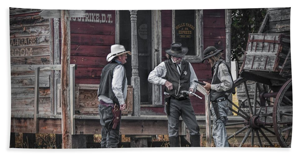 Western Beach Towel featuring the photograph Western Cowboy Re-enactors At 1880 Town by Randall Nyhof