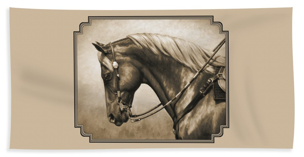 Horse Beach Towel featuring the painting Western Horse Painting In Sepia by Crista Forest