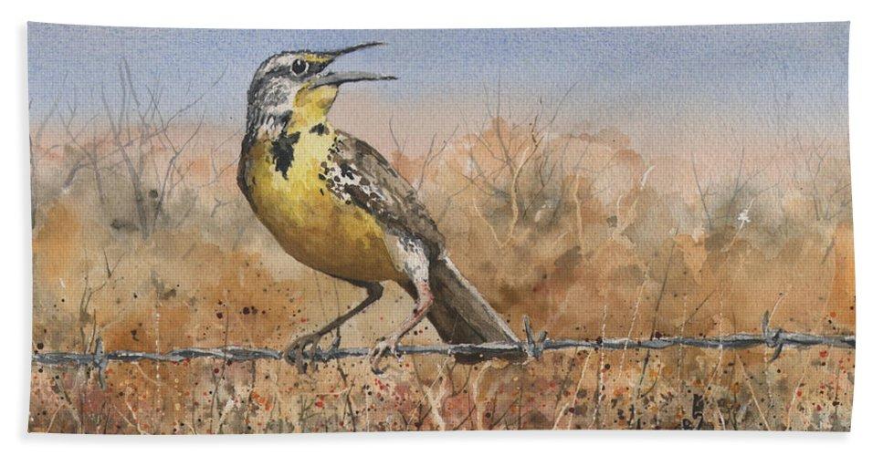 Bird Beach Towel featuring the painting Western Meadowlark by Sam Sidders