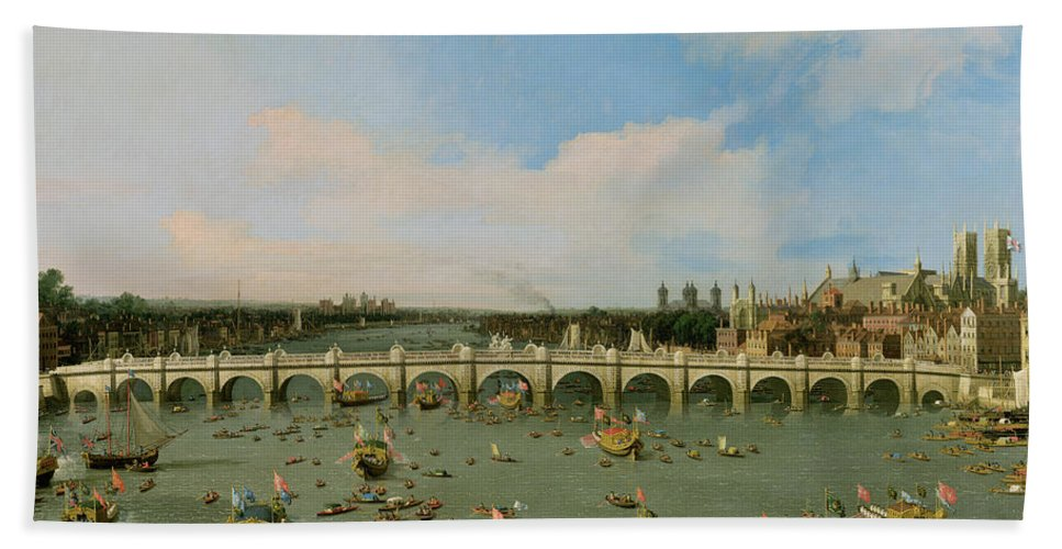 Xyc118509 Beach Towel featuring the photograph Westminster Bridge - London by Giovanni Antonio Canaletto