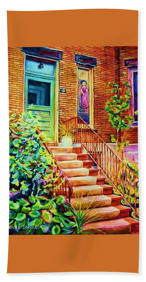Westmount Home Beach Sheet featuring the painting Westmount Home by Carole Spandau