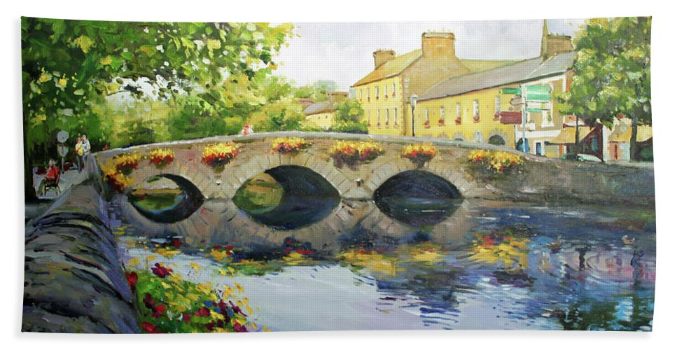 Westport County Mayo Beach Towel featuring the painting Westport Bridge County Mayo by Conor McGuire