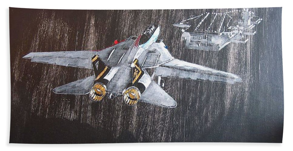 F 14 Beach Towel featuring the painting Wet Night Landing by Richard Le Page