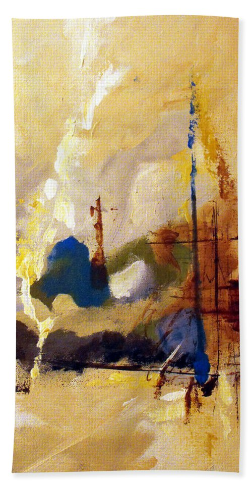 Abstract Beach Towel featuring the painting Wharf by Ruth Palmer