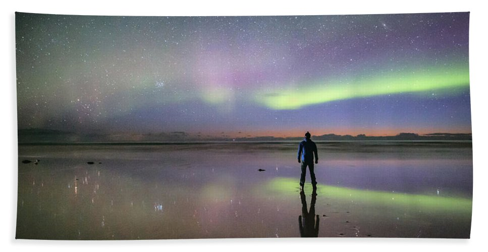 Aurora Beach Towel featuring the photograph What Is Up And Down? by Alex Conu
