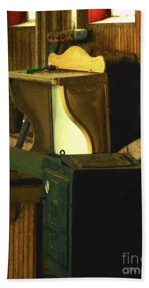 Antiques Beach Towel featuring the painting What We Saw In The Shed by RC DeWinter