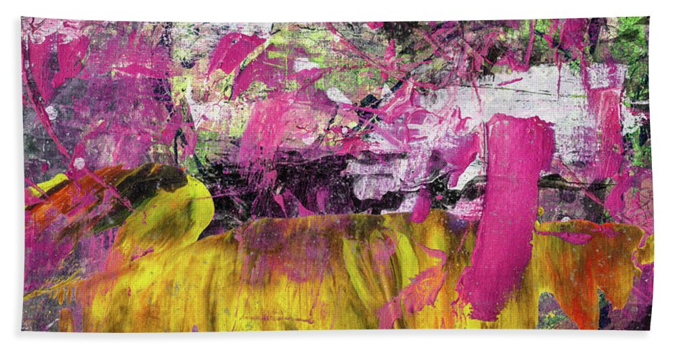 Abstract Beach Sheet featuring the painting Whatever Makes You Happy - Large Pink And Yellow Abstract Painting by Modern Abstract