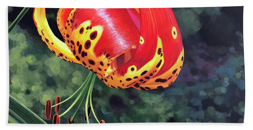 Tigerlily Beach Towel featuring the painting What's Up, Tigerlily? by Hunter Jay