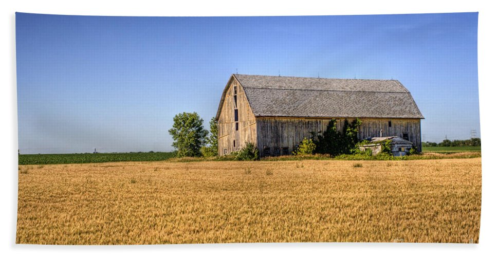 Barn Beach Towel featuring the photograph Wheat Field Barn by Joel Witmeyer