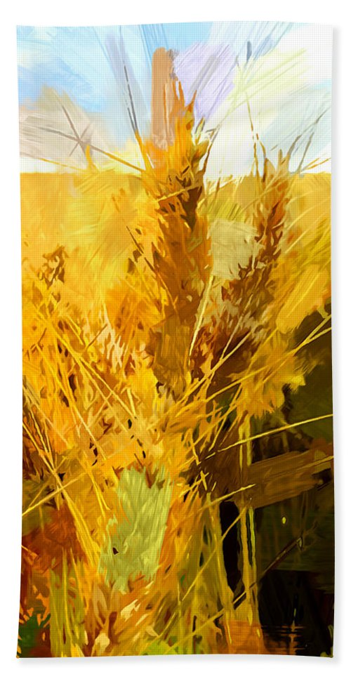 Field Beach Towel featuring the painting Wheat Field by Chris Butler