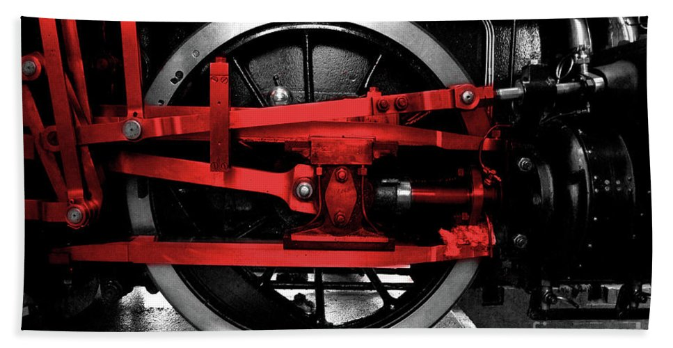 Wheel Beach Towel featuring the photograph Wheel Of Red Steel by Rob Hawkins