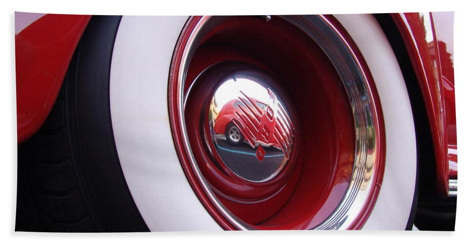 Classic Car Beach Towel featuring the photograph Wheel Reflection by Carol Milisen