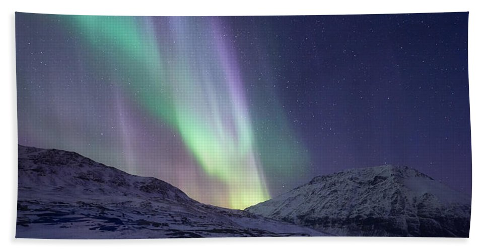 Aurora Borealis Beach Towel featuring the photograph When It All Falls Down by Tor-Ivar Naess
