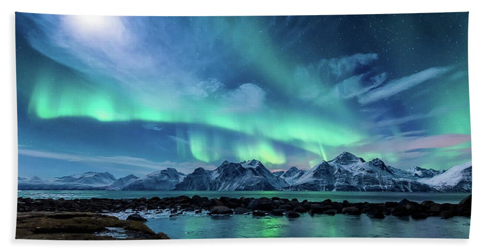 Moon Beach Towel featuring the photograph When The Moon Shines by Tor-Ivar Naess