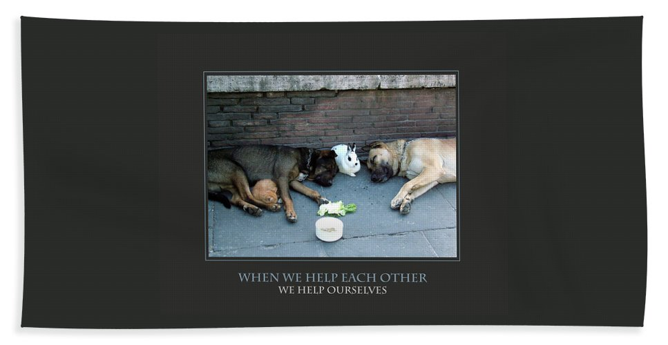 Motivational Beach Towel featuring the photograph When We Help Each Other by Donna Corless