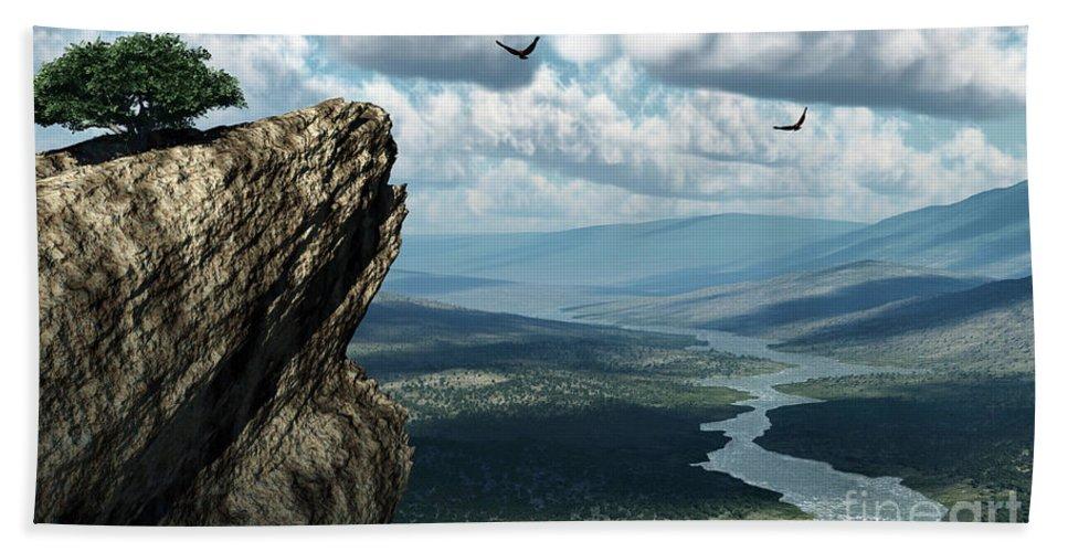 Mountains Beach Towel featuring the digital art Where Eagles Soar by Richard Rizzo