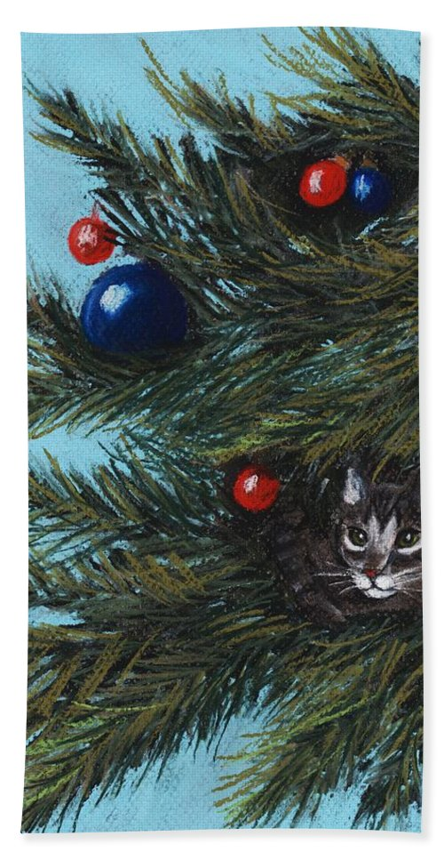 Cat Beach Towel featuring the pastel Where Is Santa by Anastasiya Malakhova