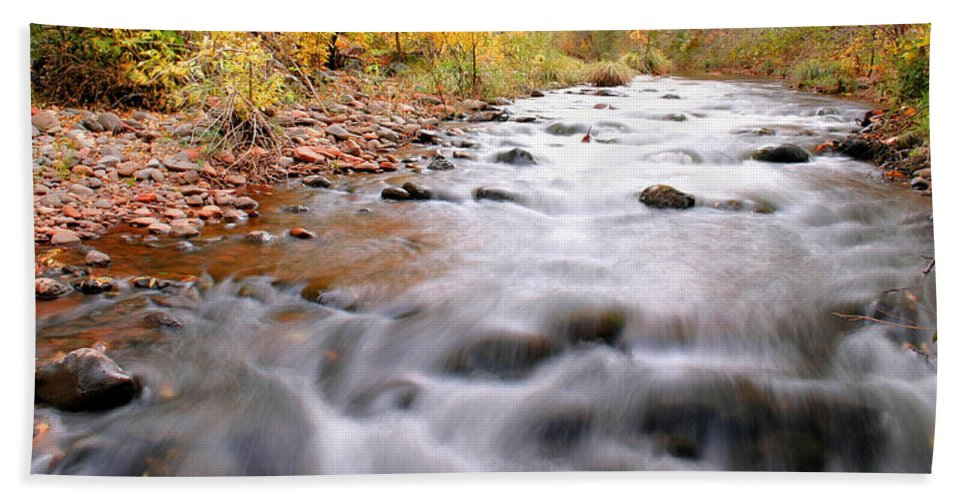 River Beach Towel featuring the photograph Where Peaceful Waters Flow by Kristin Elmquist