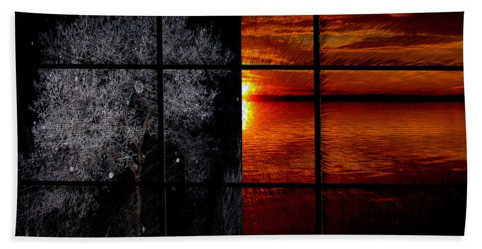 Trees Frost Cold Warm Sunshine Water Lake Shimmer Beach Towel featuring the photograph Which Side You On by Andrea Lawrence