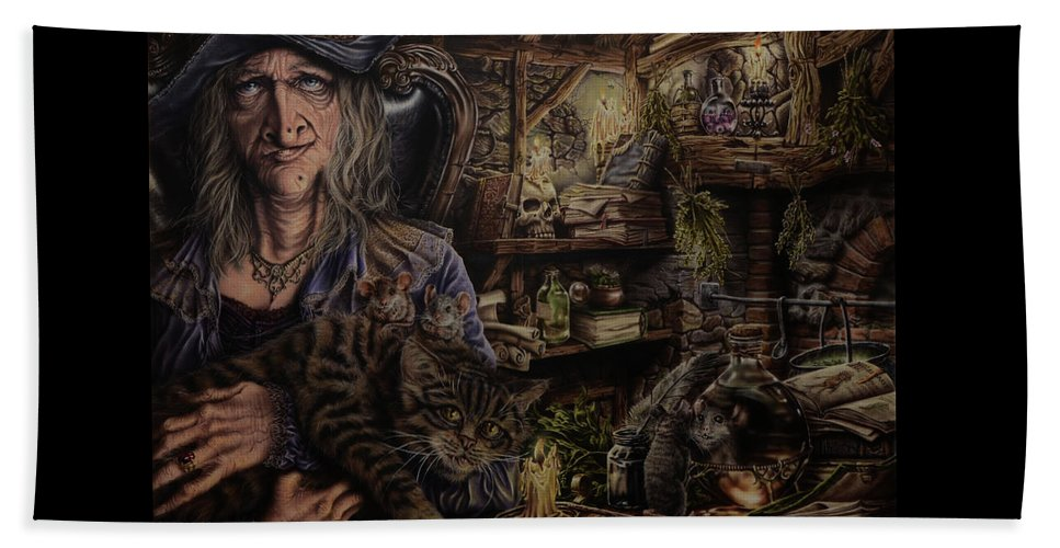 Fantasy Beach Towel featuring the painting Which witch is which by Robert Haasdijk