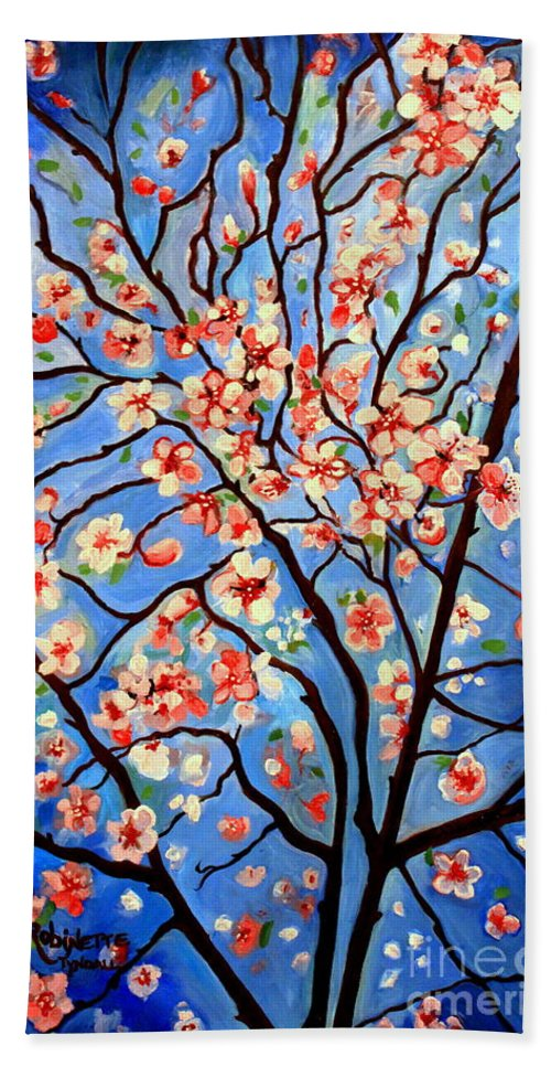 Cherry Blossoms Beach Towel featuring the painting Whimsical by Elizabeth Robinette Tyndall