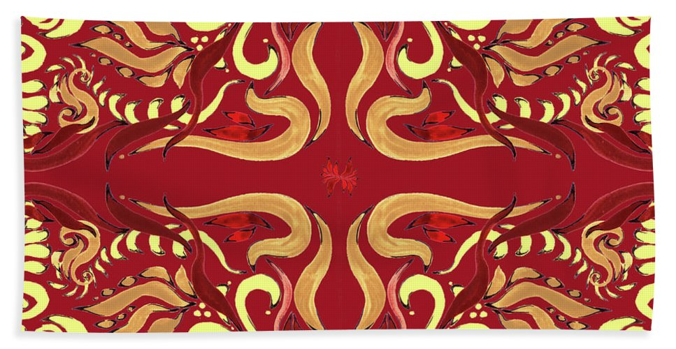 Whimsical Beach Towel featuring the painting Whimsical Organic Pattern In Yellow And Red I by Irina Sztukowski