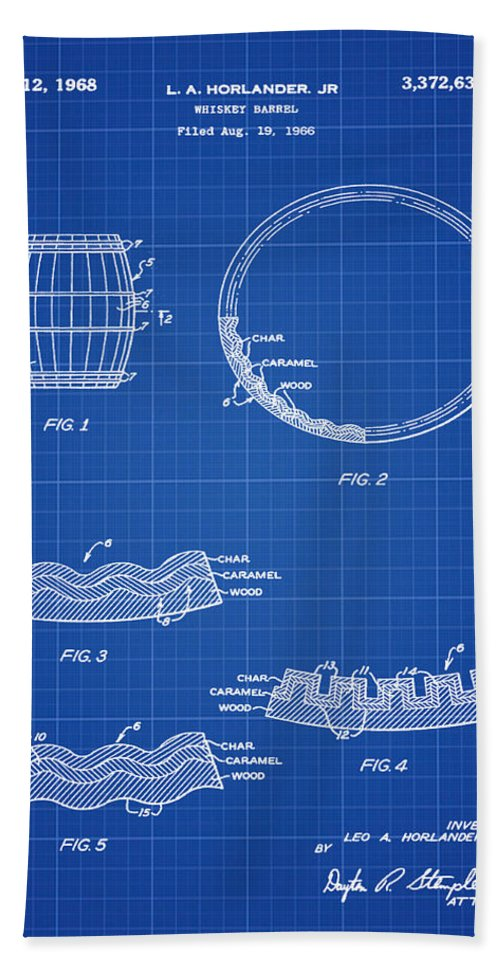 Whiskey Beach Towel featuring the photograph Whiskey Barrel Patent 1968 In Blue Print by Bill Cannon