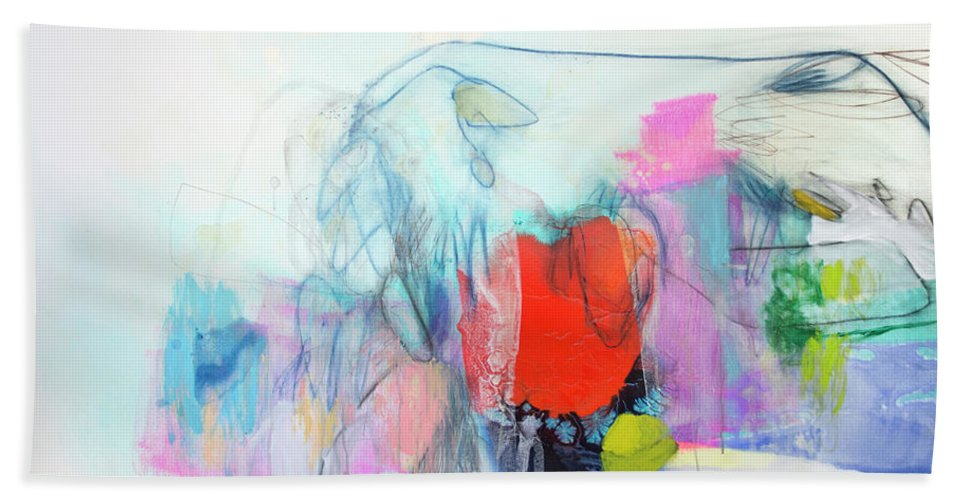 Abstract Beach Towel featuring the painting Whisper by Claire Desjardins