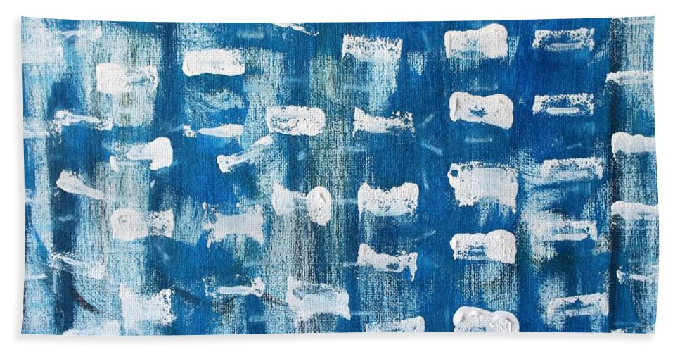 Blue Beach Towel featuring the painting Whispering Pines by Pam Roth O'Mara