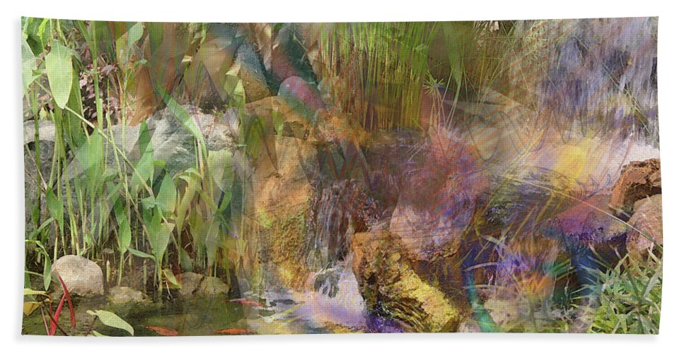 Whispering Waters Beach Towel featuring the digital art Whispering Waters by John Beck