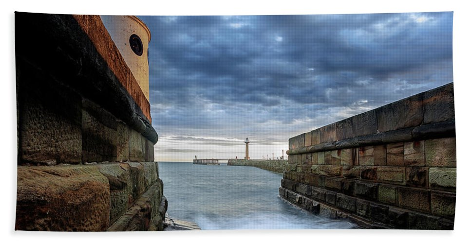 Whitby Pier Whitby North Yorkshire England Beach Towel featuring the photograph Whitby Morning Tide 2 by John Hall