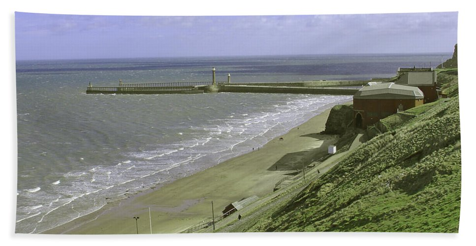 People Beach Towel featuring the photograph Whitby Piers by Rod Johnson